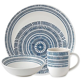 ED Ellen DeGeneres Crafted by Royal Doulton® Dark Blue Chevron 16-Piece Dinnerware Set