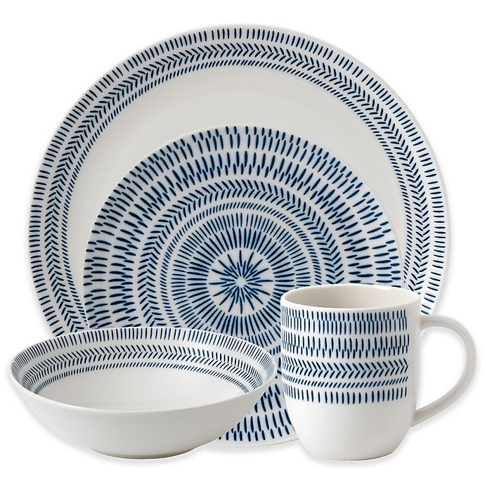 Alternate image 1 for ED Ellen DeGeneres Crafted by Royal Doulton® Dark Blue Chevron 16-Piece Dinnerware Set