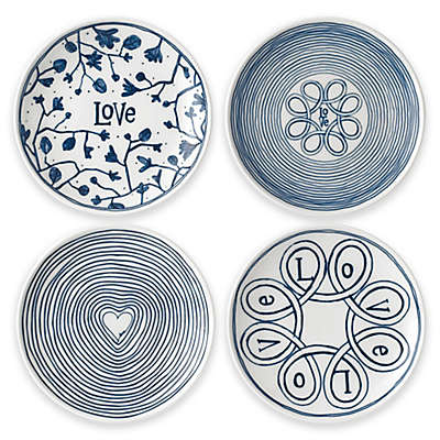 "ED Ellen DeGeneres Crafted by Royal Doulton® 4-Piece ""Love"" Mini Tapas Plates Set in Blue"