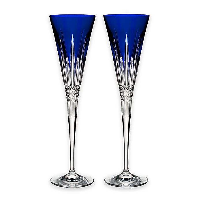 Waterford 174 Lismore Diamond Cobalt Champagne Flutes Set Of