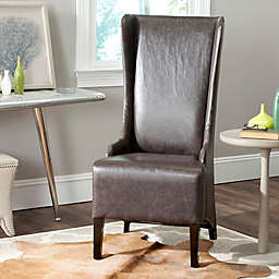 Safavieh Bacall Leather Dining Chair in Antique Brown
