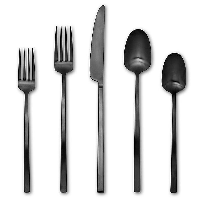 Alternate image 1 for Artisanal Kitchen Supply® Edge 20-Piece Flatware Set in Black Satin
