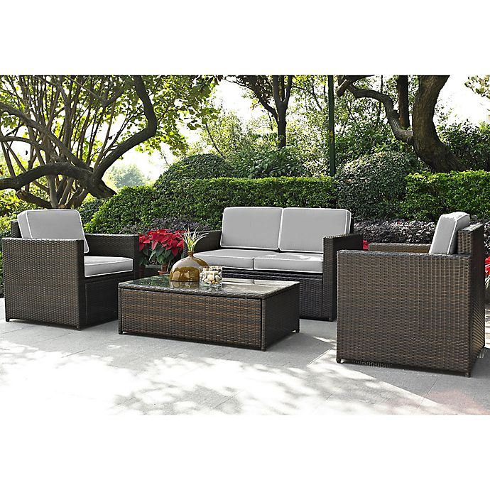 Alternate image 1 for Crosley Palm Harbor 4-Piece Outdoor Wicker Conversation Set in Grey