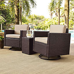Crosley Palm Harbor 3-Piece Outdoor Wicker Conversation Set