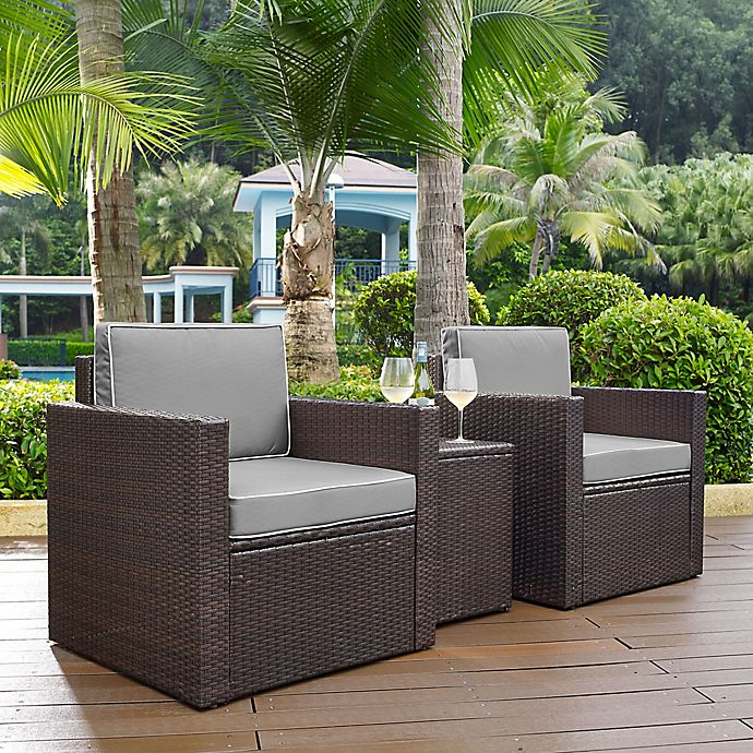 Alternate image 1 for Crosley Palm Harbor 3-Piece Outdoor Wicker Seating Set in Grey