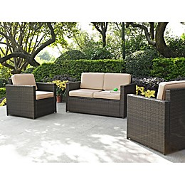 Crosley Palm Harbor 3-Piece Outdoor Wicker Seating Set