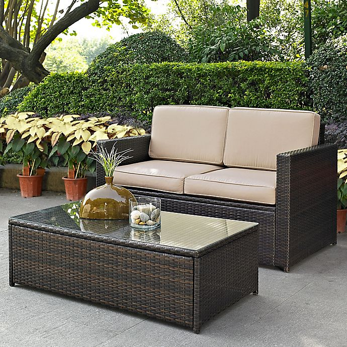 Alternate image 1 for Crosley Palm Harbor 2-Piece Outdoor Wicker Conversation Set in Sand