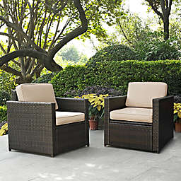 Crosley Palm Harbor Outdoor Wicker Arm Chairs (Set of 2)