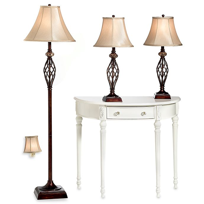 Alternate image 1 for 3-Piece Marble Twist Lamp Set