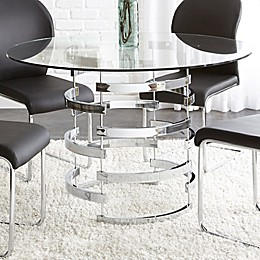 Steve Silver Co. Tayside 45-Inch Round Dining Table in Chrome