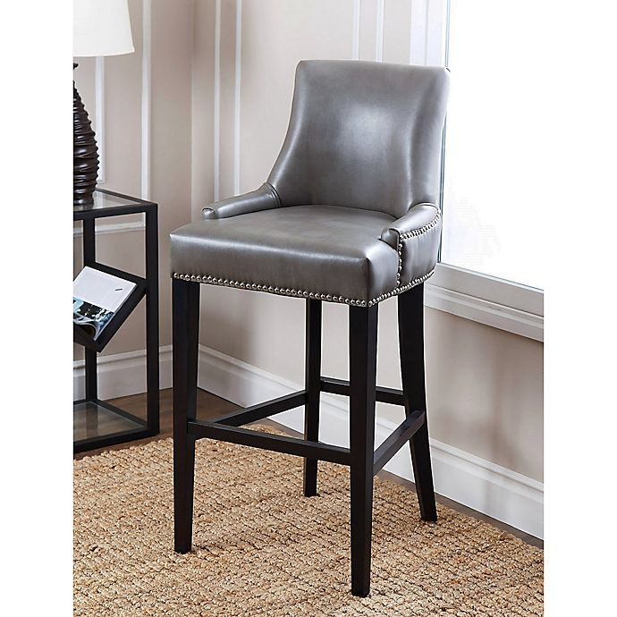 Terrific Abbyson Living Newport Leather Bar Stool In Grey Bed Bath Ibusinesslaw Wood Chair Design Ideas Ibusinesslaworg