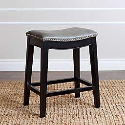 Abbyson Living® Rivoli Leather Counter Stool in Grey