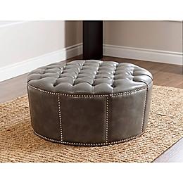 Abbyson Living Newport Leather Ottoman in Grey