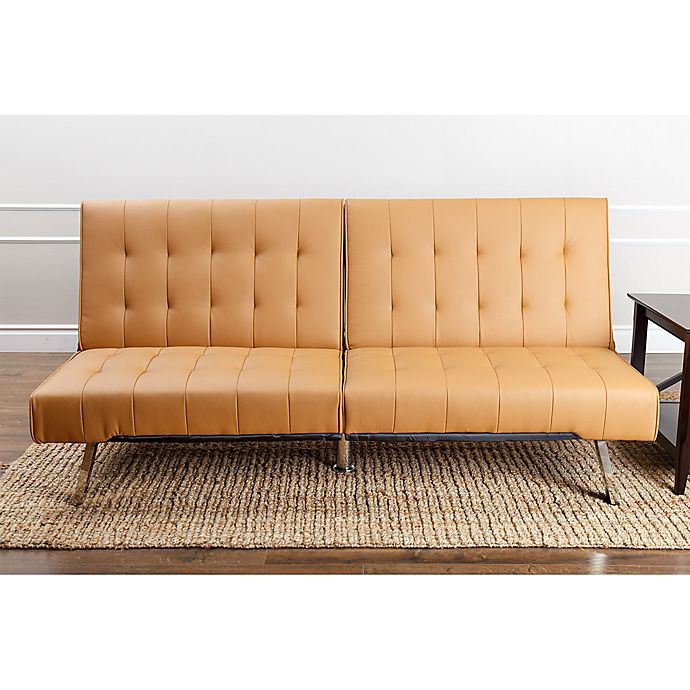 Abbyson Living Jackson Faux Leather Futon Sofa In Camel