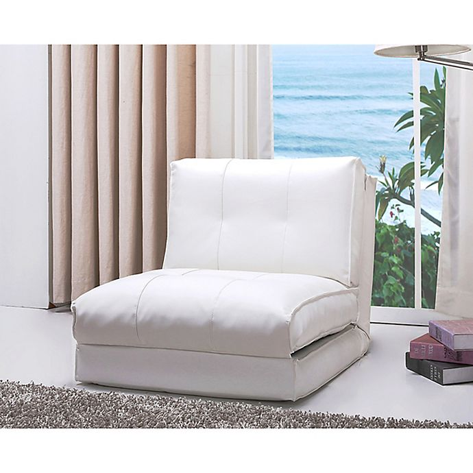 Brilliant Abbyson Living Jackson Faux Leather Sleeper Chair In White Ibusinesslaw Wood Chair Design Ideas Ibusinesslaworg