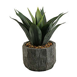 D&W Silks Red/Green Agave in Concrete Finish Planter