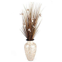 D&W Silks Brown Ting Orchids in Mother of Pearl Vase