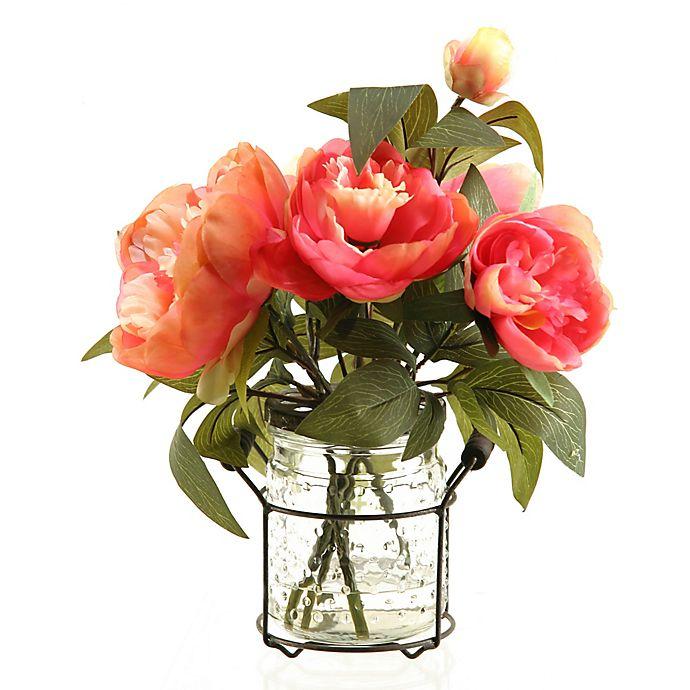 Alternate image 1 for D&W Silks Pink Peonies in Glass Jar