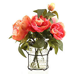 D&W Silks Pink Peonies in Glass Jar