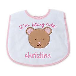 """""""I'm Beary Cute"""" Bib in Pink"""