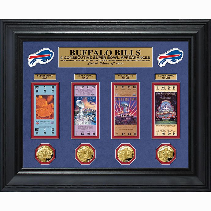 Alternate image 1 for NFL Buffalo Bills 4 Consecutive Super Bowl Appearance Super Bowl Ticket and Game Coin Collection
