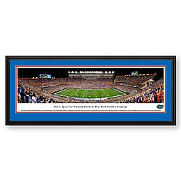 University of Florida Ben Hill Griffin Stadium Panoramic Print with Deluxe Frame