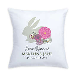 """Love Blooms"" Bunny and Flowers Pillow in Pink/White"