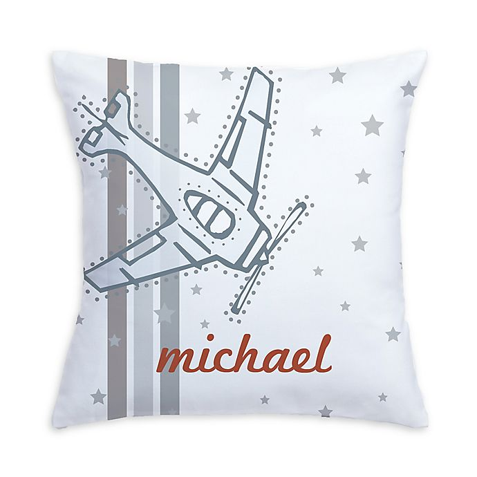 Alternate image 1 for Vintage Airplane Pillow in Grey/White