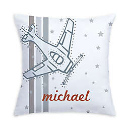Vintage Airplane Pillow in Grey/White