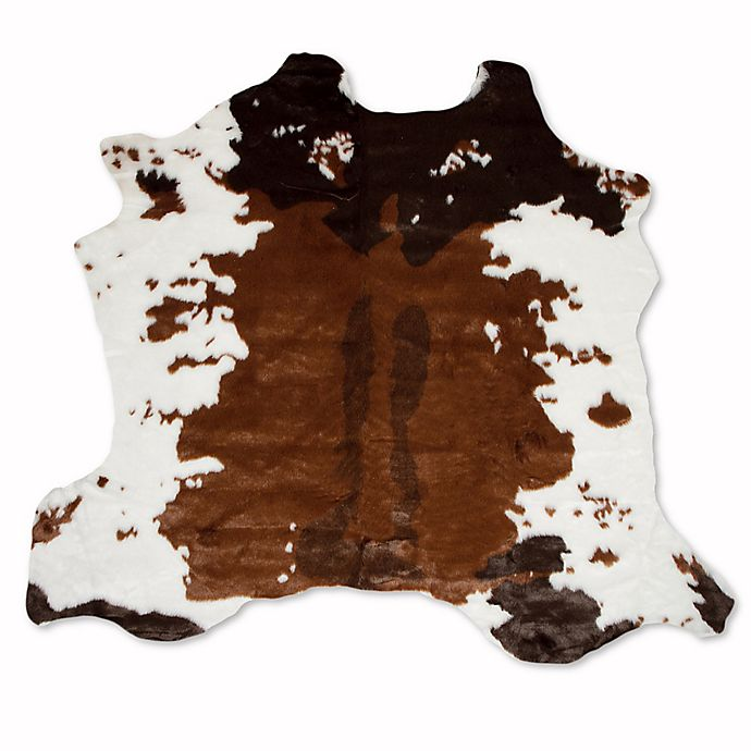Alternate image 1 for Luxe Faux Fur Hide 4-Foot 3-Inch x 5-Foot Rug/Throw in Chocolate/White