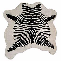 Luxe Faux Fur Hide 4-Foot 3-Inch x 5-Foot Rug/Throw in Zebra Black/White