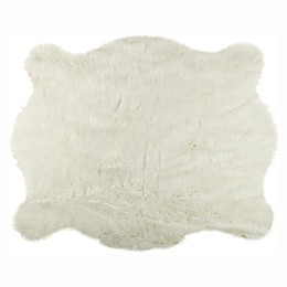 Luxe Faux Fur Hide 4-Foot 3-Inch x 5-Foot Rug/Throw in Polar Bear