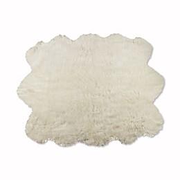 Luxe Gordon Faux Fur Sheepskin Sexto 5-Foot x 6-Foot Shag Rug/Throw in Off-White