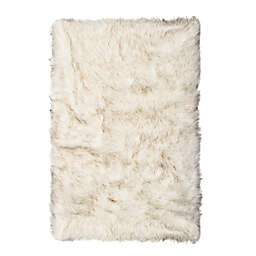 Luxe Hudson Faux Fur Sheepskin 2-Foot x 3-Foot Shag Rug/Throw in Gradient Brown