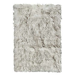 Luxe Hudson Faux Fur Sheepskin 2-Foot x 3-Foot Shag Rug/Throw in Gradient Grey