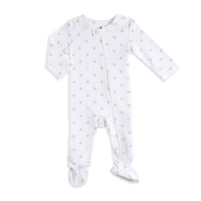 Alternate image 1 for aden® by aden + anais® Zip-Front Star Footie in Grey/Blue