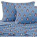 Penguins Flannel Queen Sheet Set in Blue