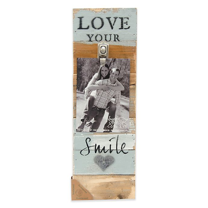 Alternate image 1 for Sweet Bird & Co. Love Your Smile 6-Inch x 18-Inch Reclaimed Wood Clip Frame