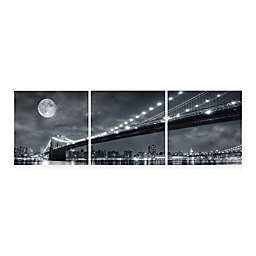 Elementem Photography Moonrise Over the Brooklyn Bridge 28-Inch x 28-Inch 3-Panel Wall Art
