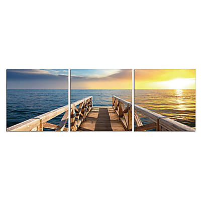 Elementem Photography Sunset Pier 3-Panel Photographic Wall Art