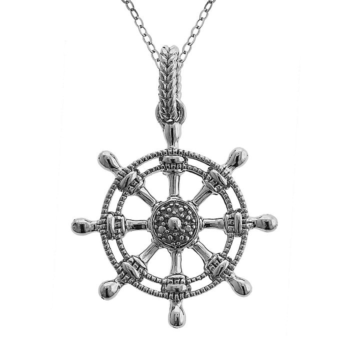 03ec52ec01bb7e Oceana Mist Sterling Silver .03 cttw Diamond-Accented Ship Wheel 18-Inch Pendant  Necklace