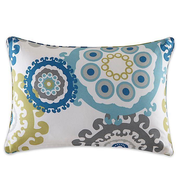 Alternate image 1 for Madison Park Laguna Medallion Outdoor Oblong Pillow in Blue