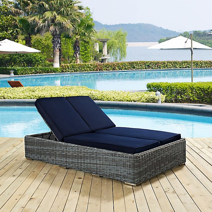 Alternate image 1 for Modway Summon Outdoor Wicker Double Chaise Lounge in Sunbrella® Navy