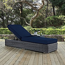 Modway Summon Outdoor Wicker Chaise Lounge in Sunbrella® Canvas