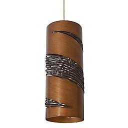 Varaluz® Flow 1-Light Hammered Ore Mini Pendant in Dark Brown