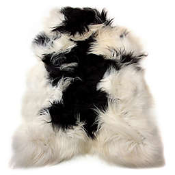 Natural 100% Icelandic Long-Hair Sheepskin 2-Foot x 3-Foot Accent Rug in Black/White