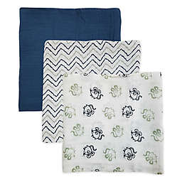 Rose & Blu™ 3-Pack Soft and Breathable Mouse Muslin Swaddle Blankets in Navy/Grey