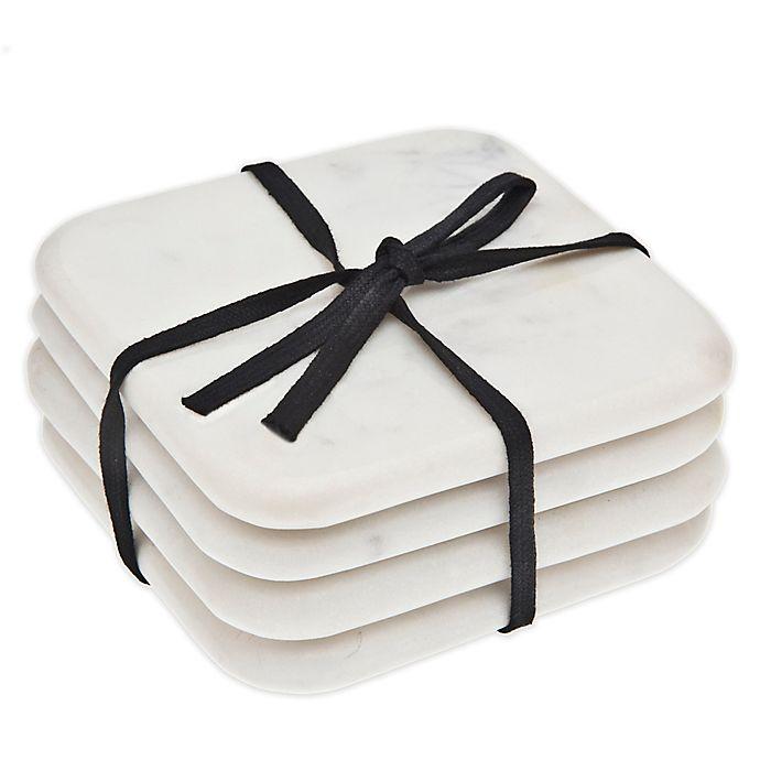 Alternate image 1 for Godinger Marble Coasters in White (Set of 4)
