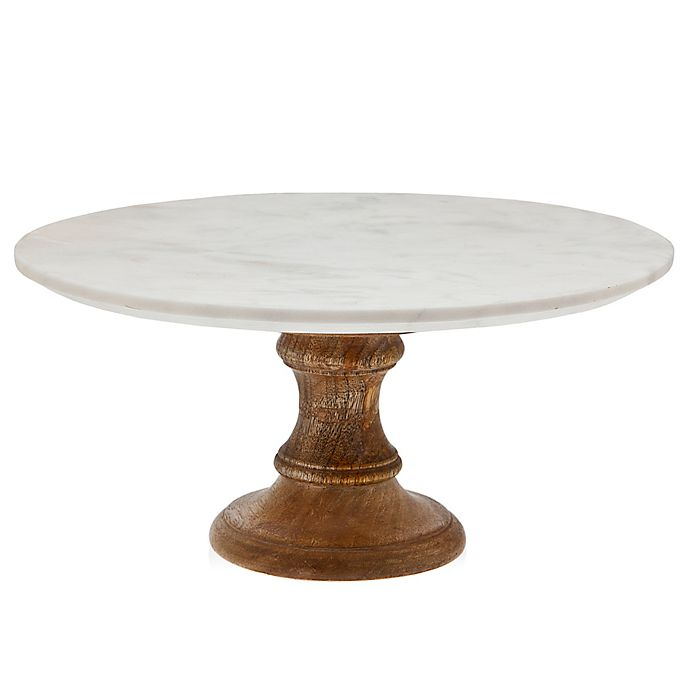 Alternate image 1 for Godinger Wood Cake Stand with Marble Top