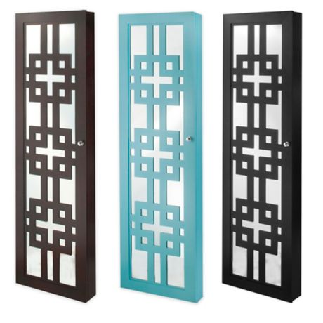 Modern Jewelry Armoire With Decorative Mirror Bed Bath